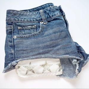 American Eagle Denim Glitter Shorts size 2
